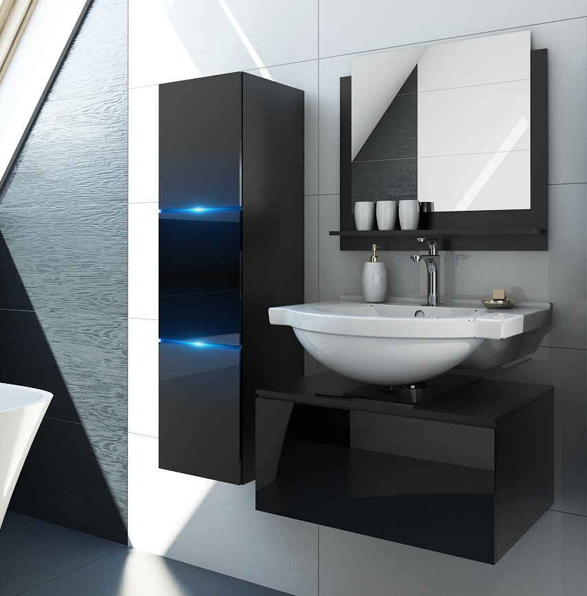 m bel f r badezimmer bomber schwarz. Black Bedroom Furniture Sets. Home Design Ideas