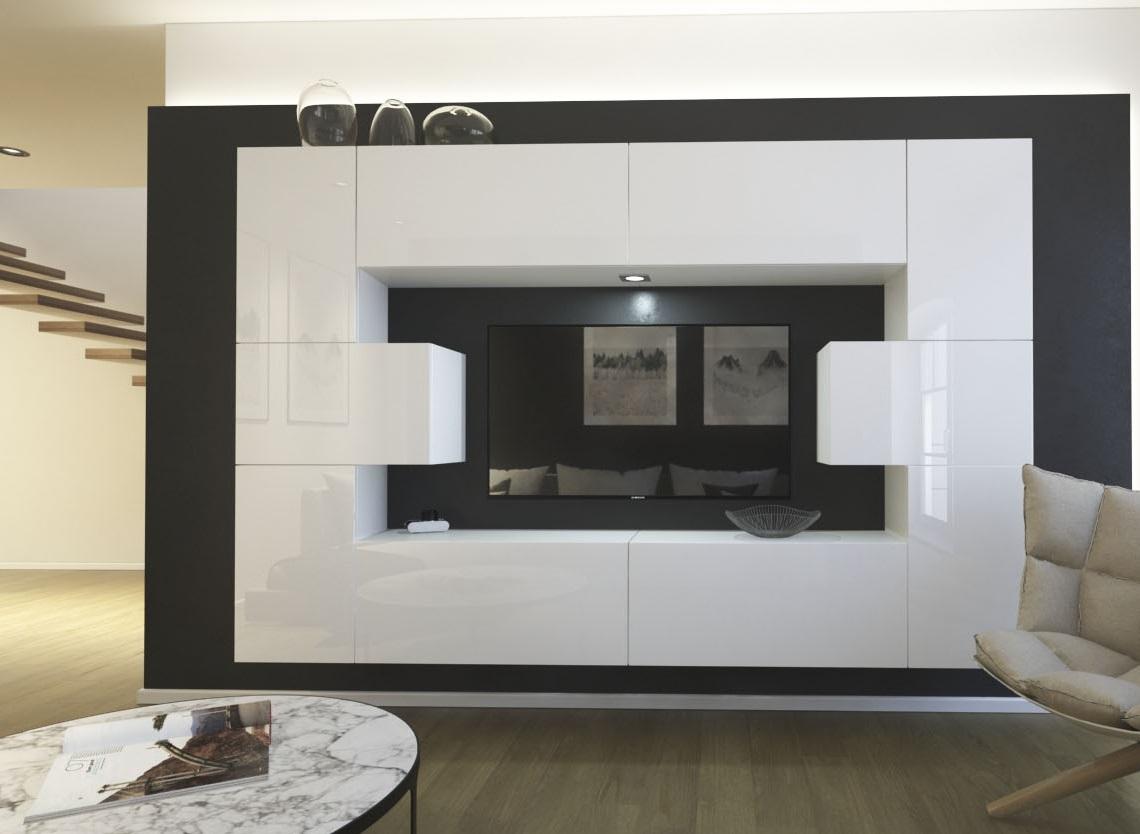Möbel für Wohnzimmer weiß Hochglanz – Monaco NX 4