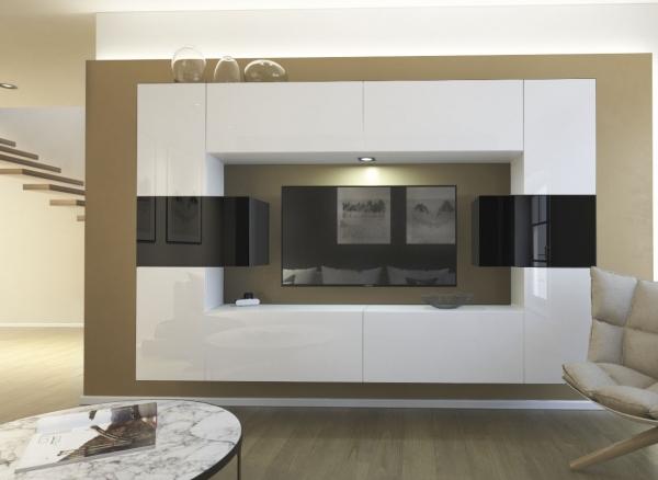 Möbel für Wohnzimmer schwarz-weiß Hochglanz – Monaco NX 4 — Möbel ...