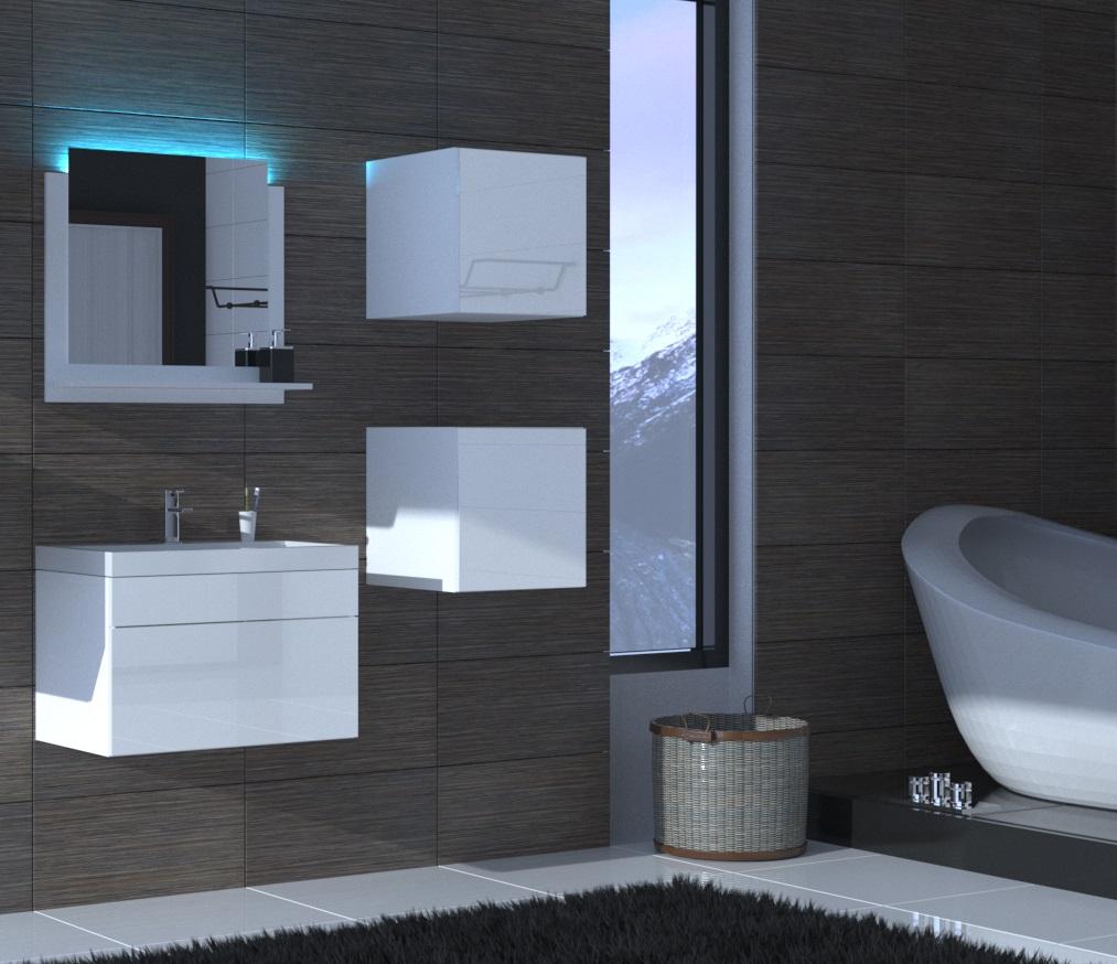 Badezimmermöbel Weiß Hochglanz ALIUS 21