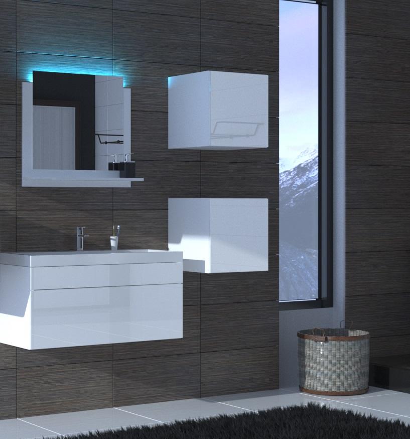 Badezimmermöbel Weiß Hochglanz ALIUS 28