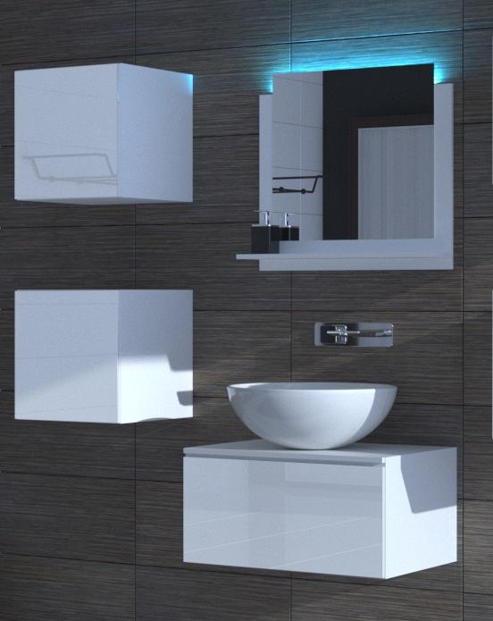 Badezimmermöbel Weiß Hochglanz ALIUS 26