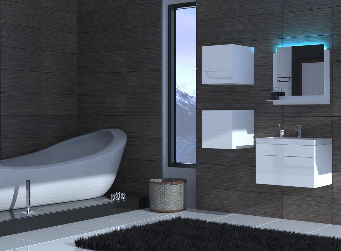 Badezimmermöbel Weiß Hochglanz ALIUS 30