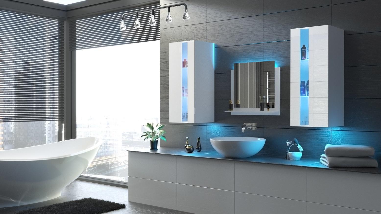 Badezimmermöbel Weiß Hochglanz ALIUS 41