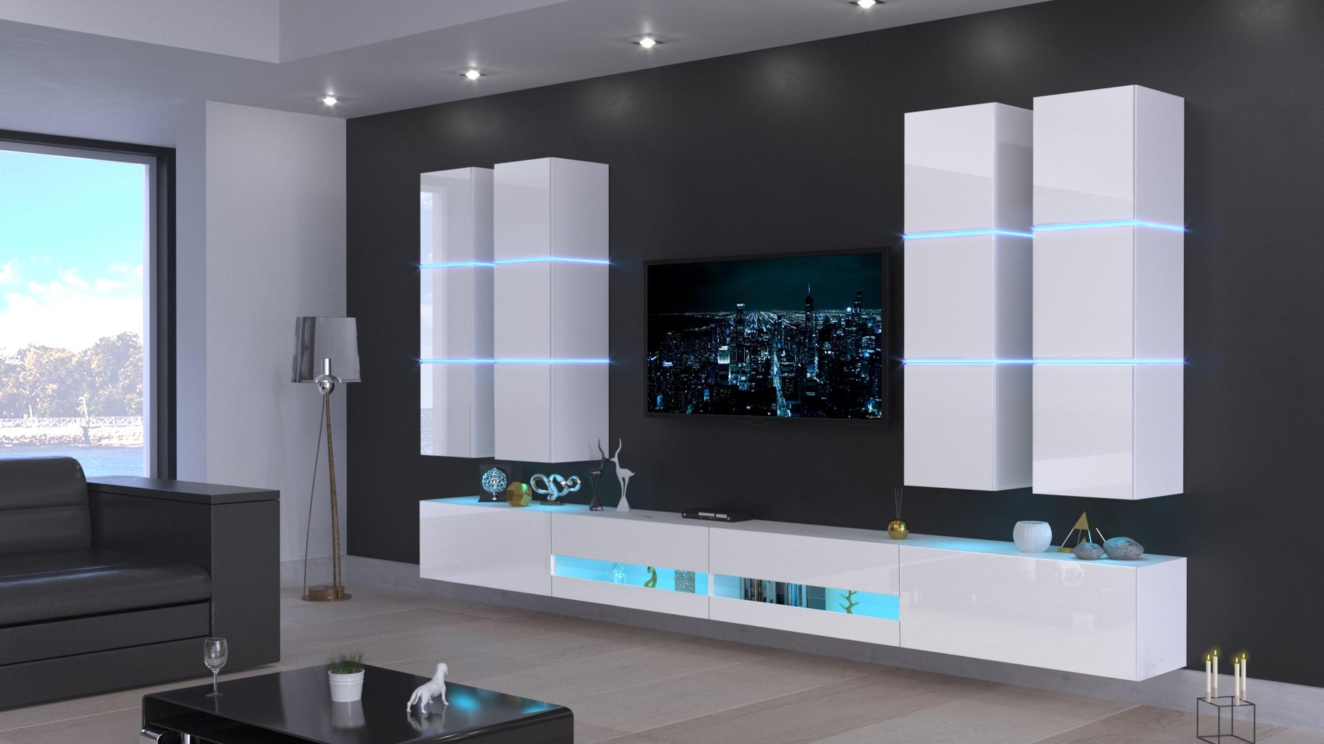 Möbel für Wohnzimmer weiß Hochglanz – Jurat N10