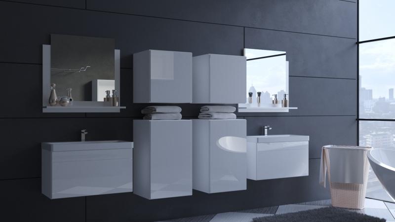 Badezimmermöbel Weiß Hochglanz ALIUS 38